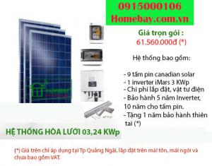 Hệ thống điện mặt trời hòa lưới 3,24 KWp tại Homebay