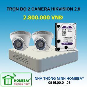 TRỌN BỘ 2 CAMERA HIKVISION 2MP FULL HD 1080P
